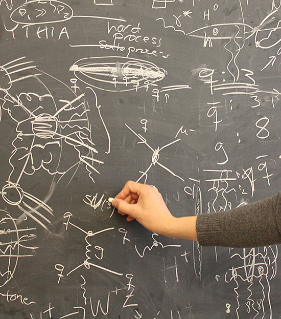 Theoretical formulas on a blackboard