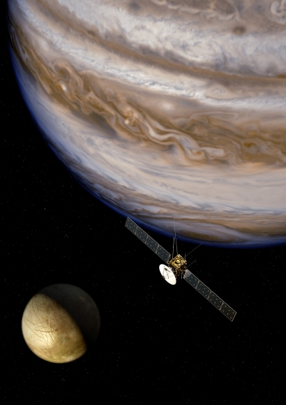 Image showing probe, at Jupiter and the moon Ganymede.