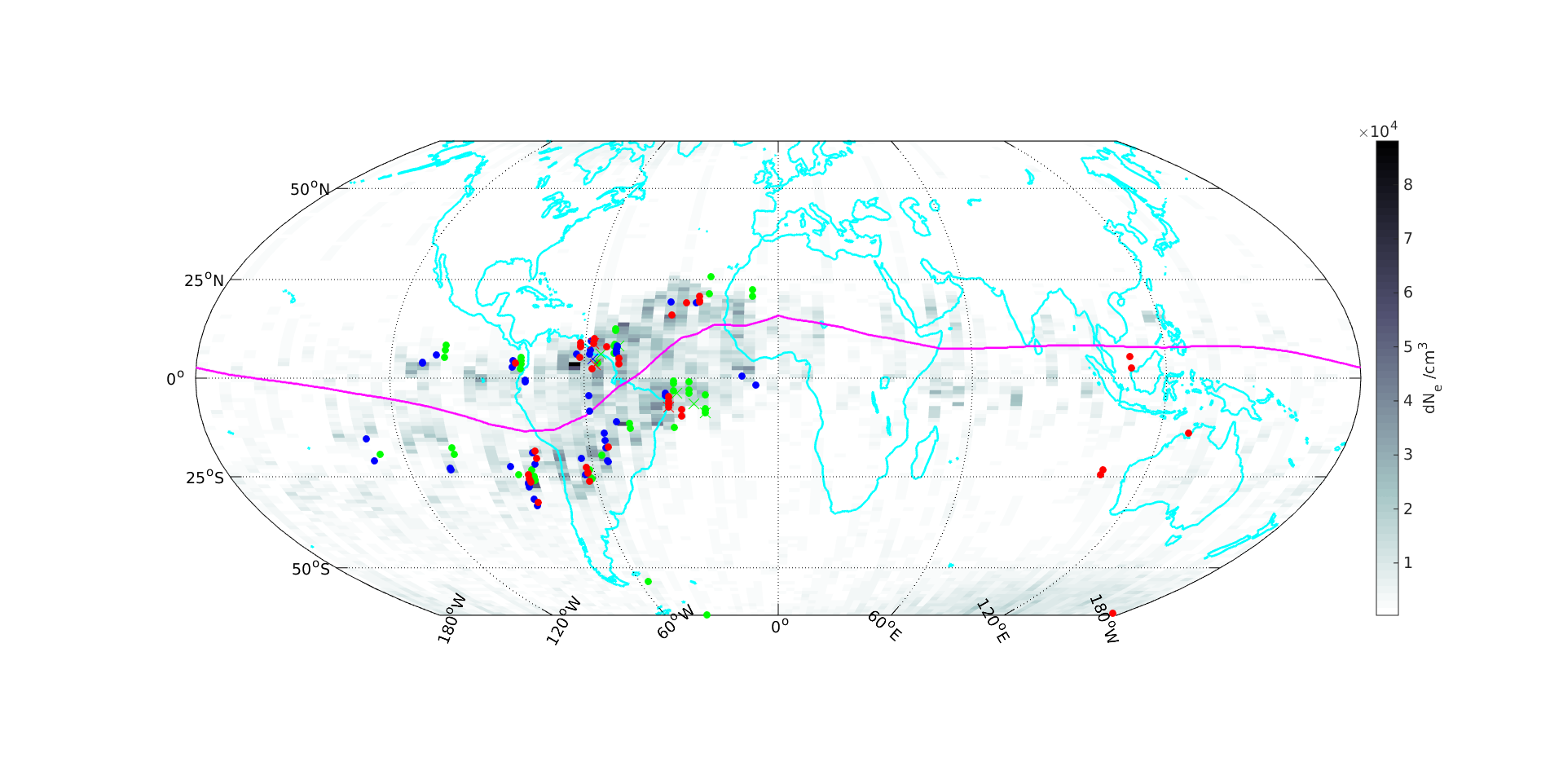 Irregularities in the ionosphere of Earth measured by Swarm.