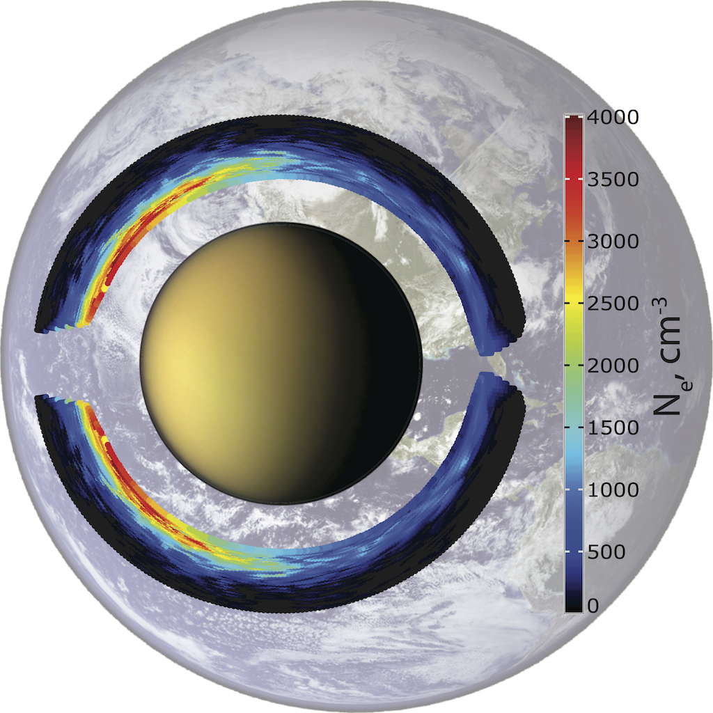 The ionosphere of Titan with the Earth in the background to show scale.
